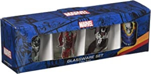 Silver Buffalo MU031SG1 Marvel Villains Mini Glass Set, 4-Pack