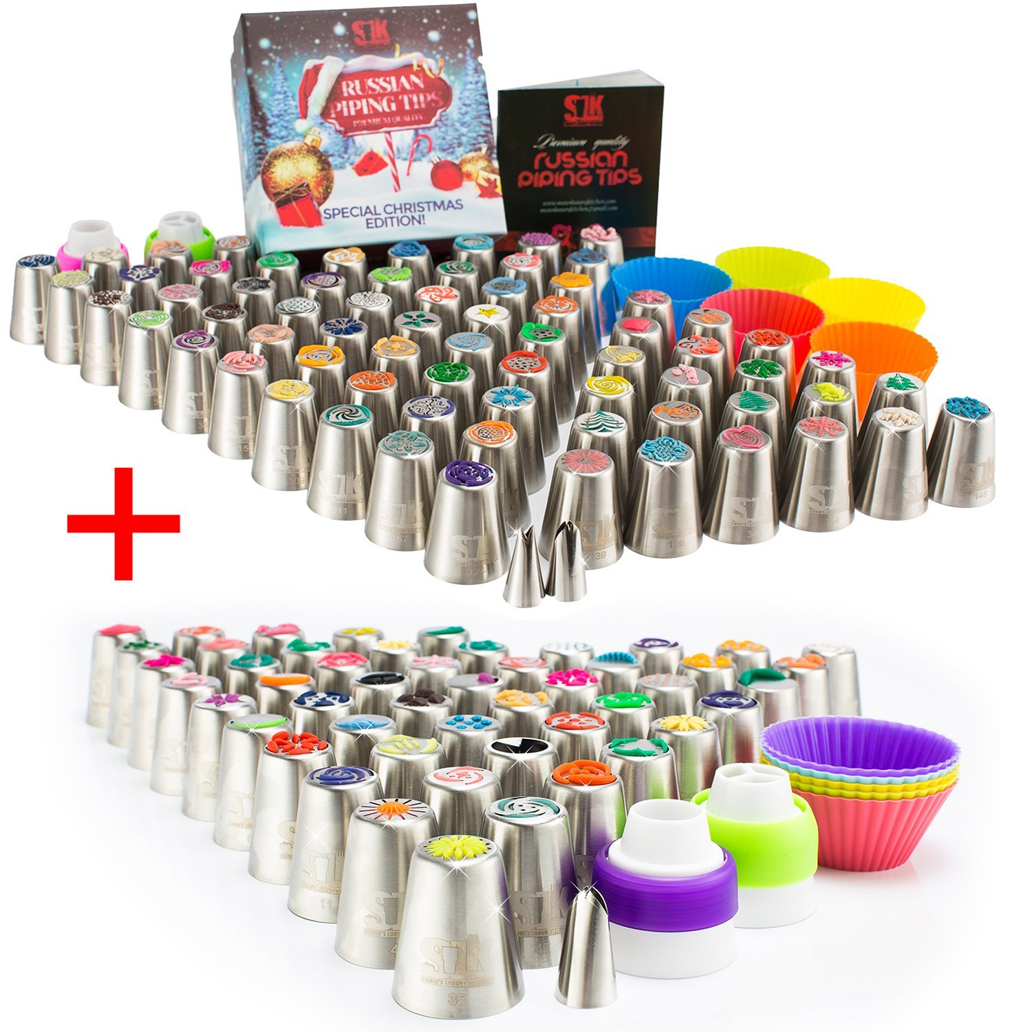 Russian piping tips: 120 nozzles, 3 leaf-tips, 2 single couplers, 2 X 3-color couplers, 5 cleaning brushes, 60 pastry bags, silicone bags, 10 silicone cups, plastic scissors, frosting bags and tips