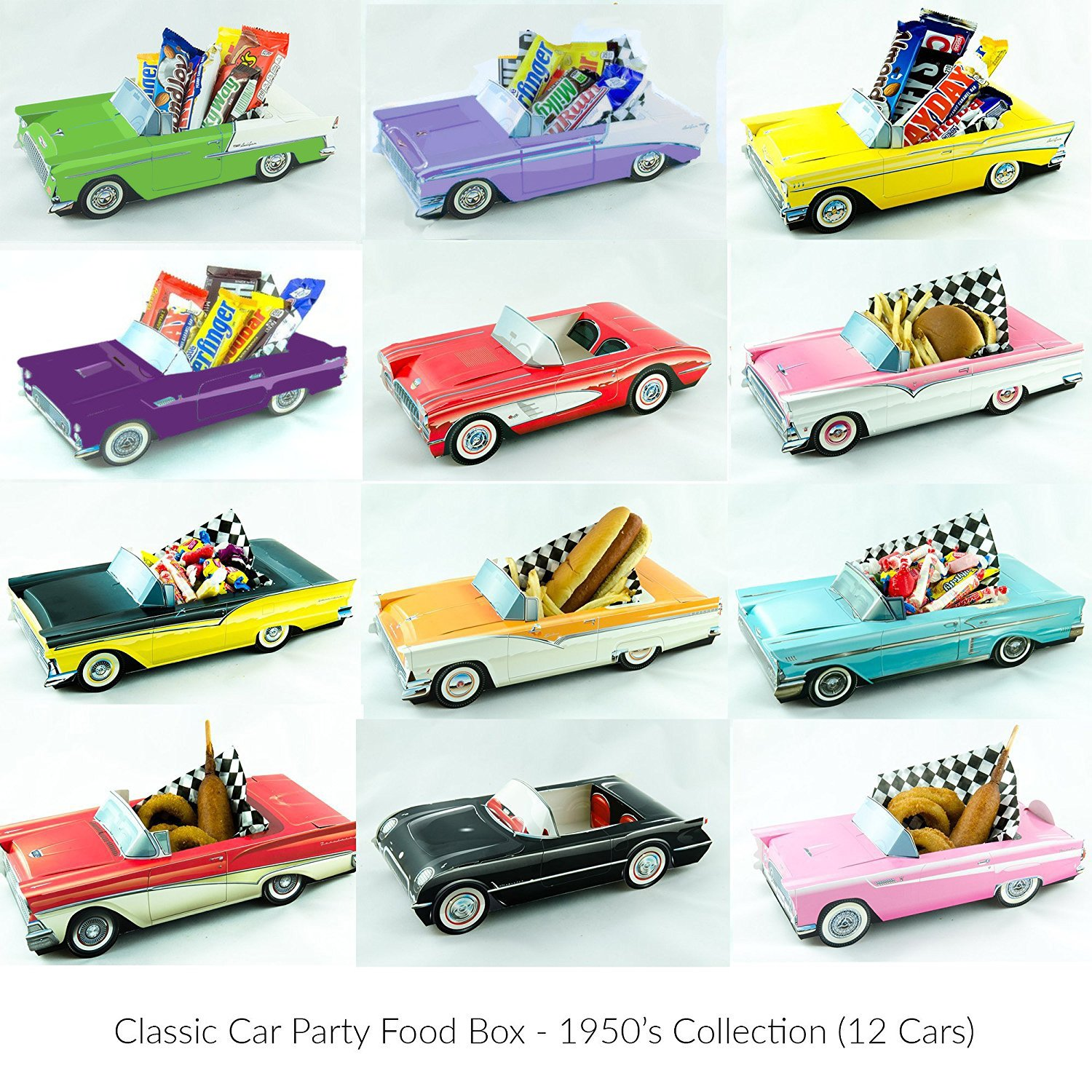 Amazon 12 Classic Car Party Food Boxes