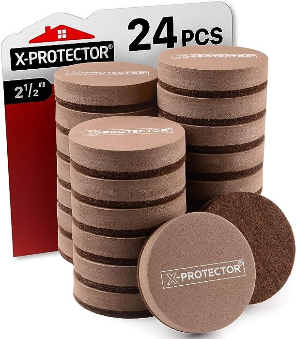 "Felt Furniture Sliders for Hardwood Floors X-PROTECTOR 24 PCS - Furniture Slider – Heavy Duty Furniture Movers for Hard Surfaces – Brown Felt Sliders 2 ½""- Move Your Furniture Easily & Safely!"