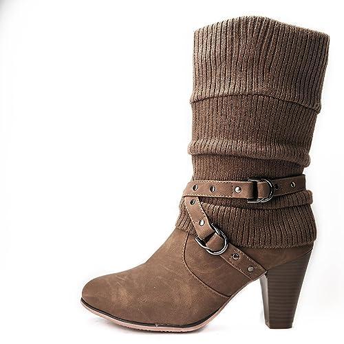 Botas para mujer Botas Botines de punto de tacón BL62 con aislamiento, color multicolor, talla 36: Amazon.es: Zapatos y complementos
