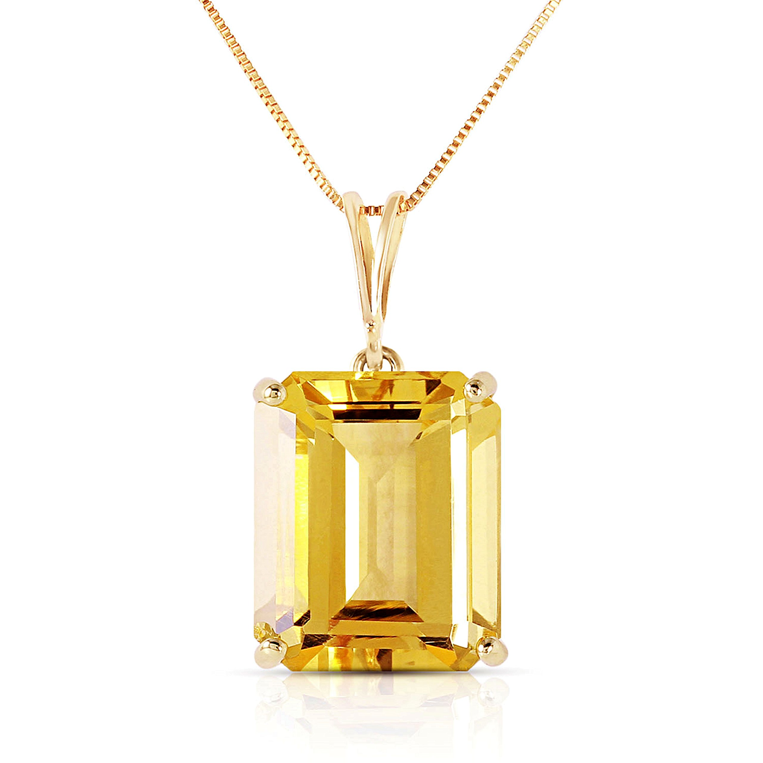 14k Solid White, Rose, and Yellow Gold Necklace with 6.5 Carats Octagon-Cut Natural Citrine (yellow-gold, 16)