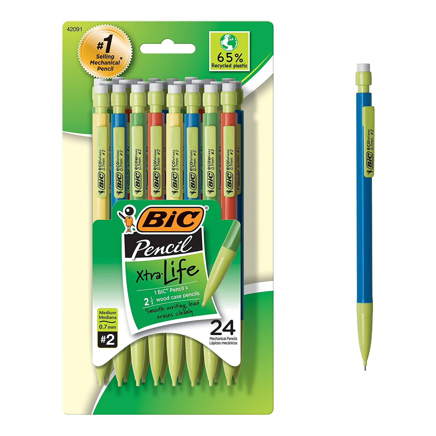 Amazon.com : BIC Ecolutions Xtra-Life Mechanical Pencil, Medium ...