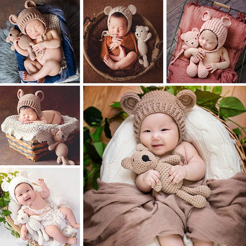 De feuilles Neugeborenen Fotografie Requisiten Kost/üm Handarbeit Geh/äkelte M/ütze M/ütze mit B/är Spielzeug