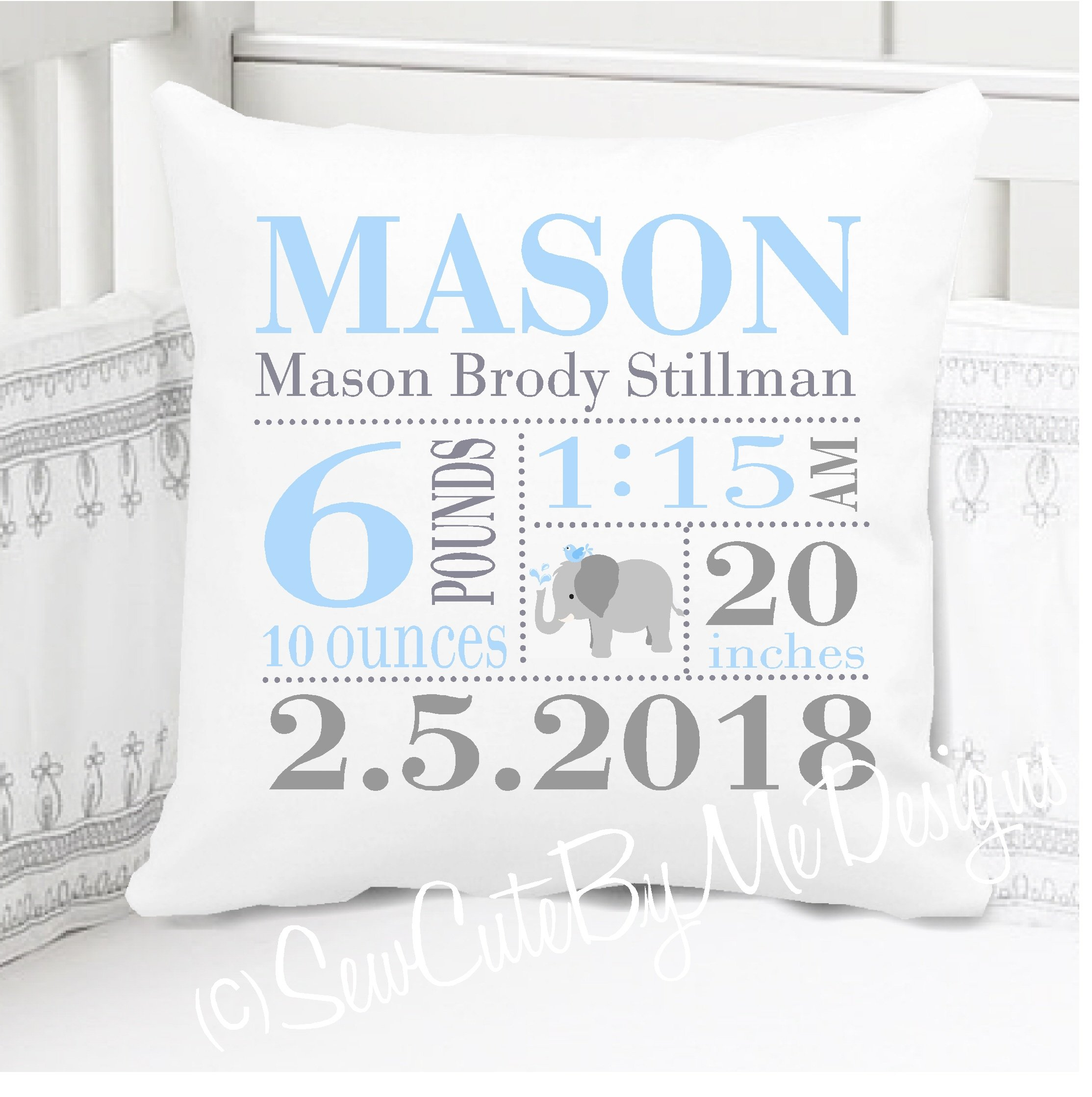 Sew Cute by Me Designs Original Birth Announcement Pillow for Baby Boys Elephant Nursery - Includes Personalized Pillowcase and Pillow Insert 14x14 or 16x16