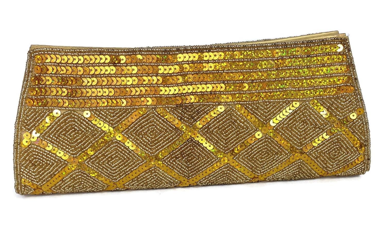 Tarini Women's Evening Sequin Gold Clutch gold beaded handbag