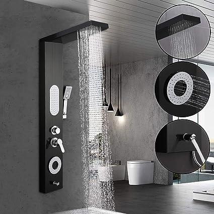 BONADE Panel de Ducha Panel de Hidromasaje en Acero Inoxidable con Ducha de Mano y Manguera de Baño - Negro