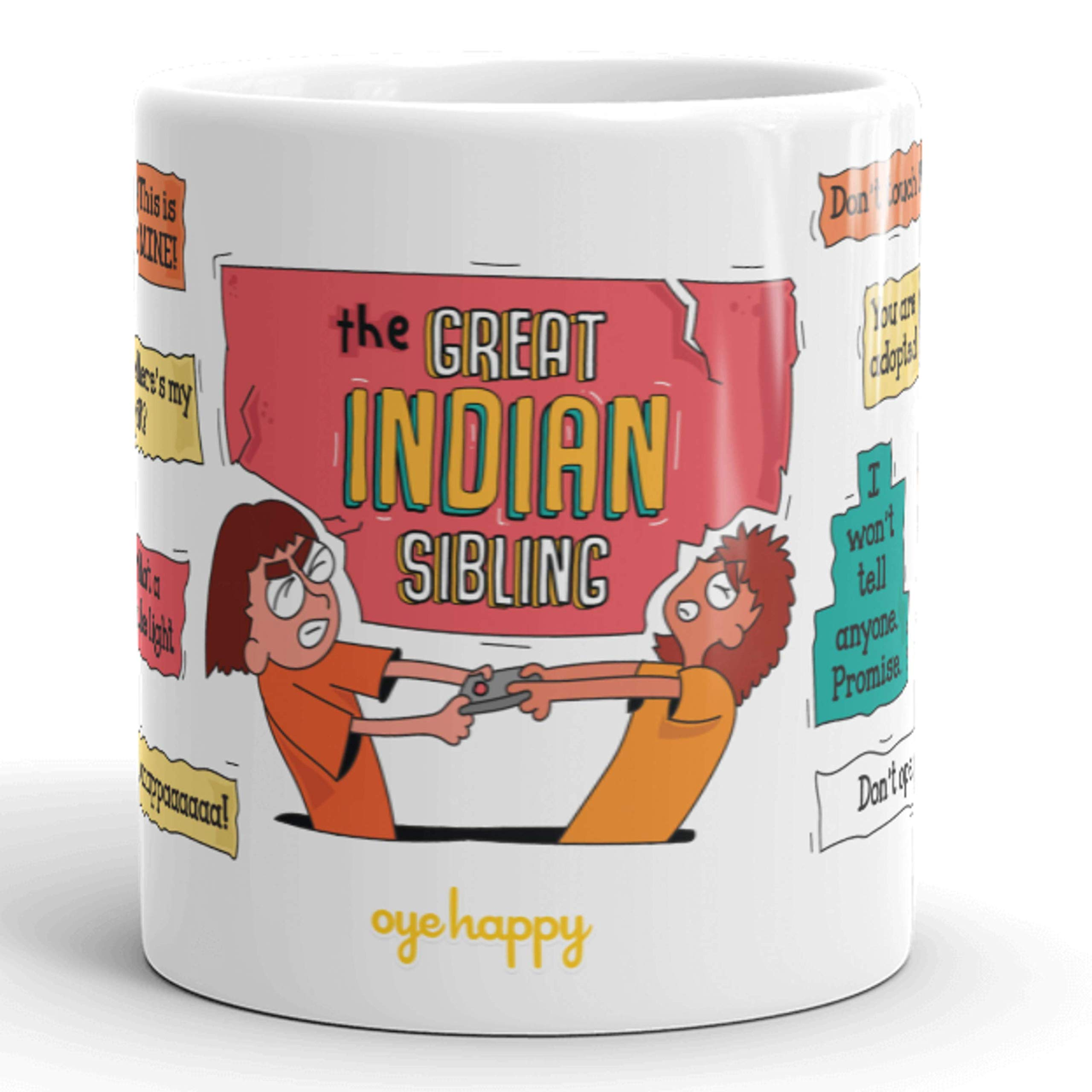 Oye Happy Ceramic Mug - Multicolour, 330 ml