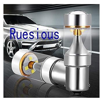 Ruesious 2 x 800 Lumen Canbus Error Free 1156 BA15S 5W 6 SMD, Bombillas LED para la Luz de Coche, Blanco 6500K: Amazon.es: Electrónica