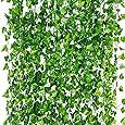 LANGING 12 Strengen Kunstmatige Klimop Garland Bloemen Nep Klimop Opknoping Wijnstok Plant voor Thuis Tuin Decor 84Ft (groen, een maat)