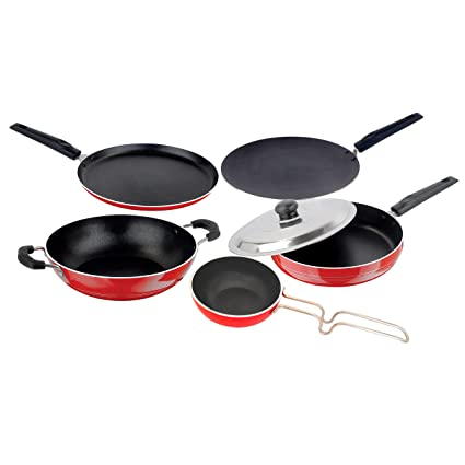 Nirlon Non-Stick Aluminium Cookware Set, 5-Pieces, Red/Black (2.6mmFT12CTFP12KD12V) Pot & Pan Sets at amazon