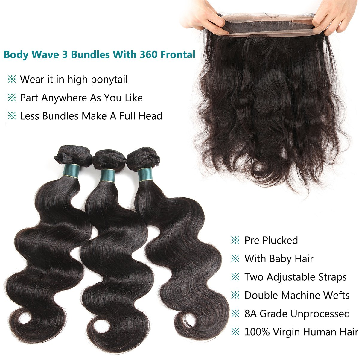 360 Lace Frontal with Bundles Pre Plucked 8A Brazilian Body Wave Virgin Hair Bunldes with 360 Lace Frontal Closure 3 Bundles brazilian hair with frontal Baby Hair (18 20 22+16 360Frontal) by Ashimary (Image #3)