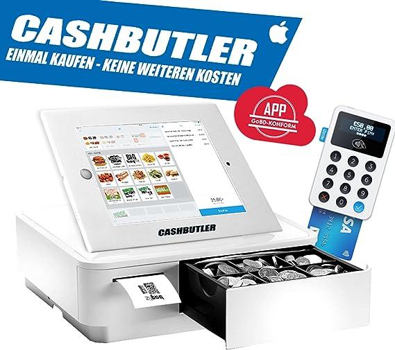 Cash Butler Deluxe ALL IN ONE multifunción kasse Sistema con recibos Caja registradora EC tarjeta lector Tablet Carcasa iPad 2 3 4 completa kasse Software godb cumple: Amazon.es: Oficina y papelería