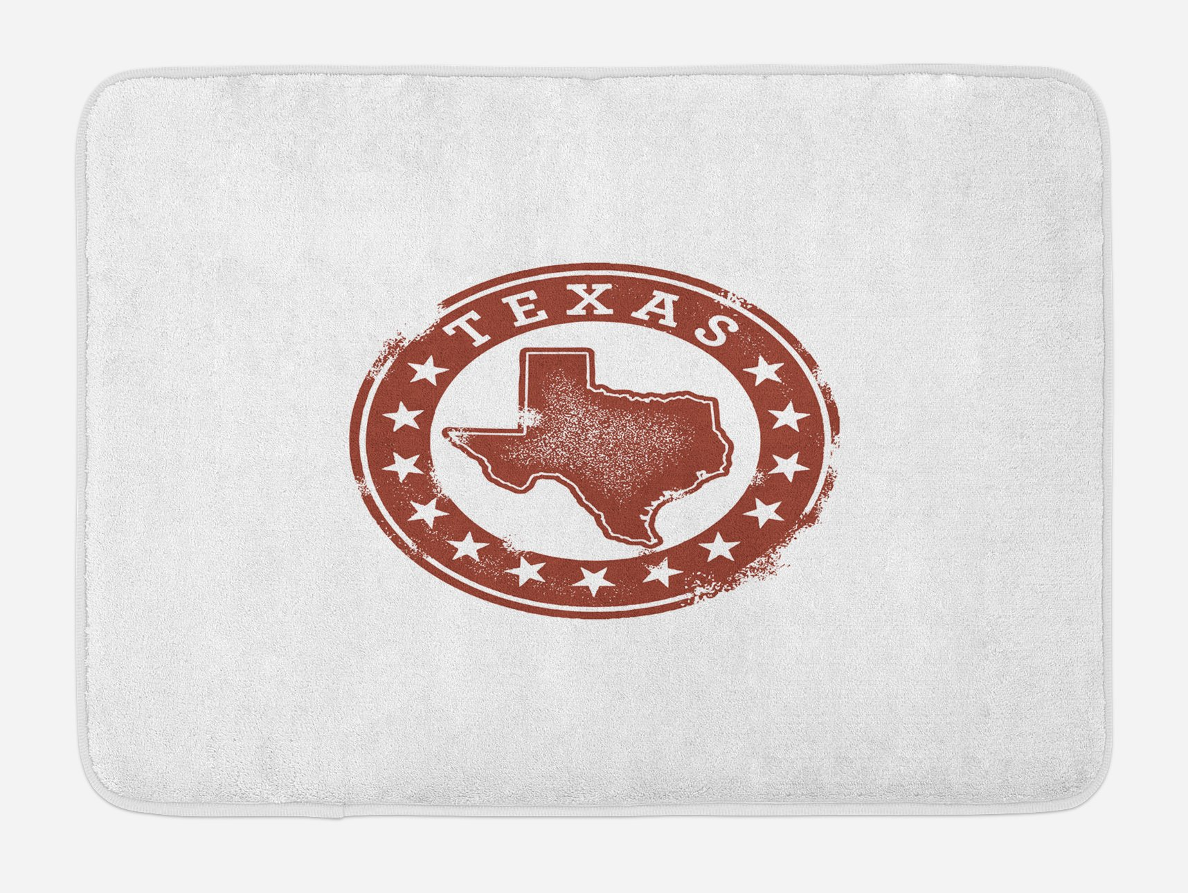 Lunarable Texas Bath Mat, Classical Rubber Stamp of Western Cowboy Country State Map Stars Dallas Houston, Plush Bathroom Decor Mat with Non Slip Backing, 29.5 W X 17.5 W Inches, Cinnamon White