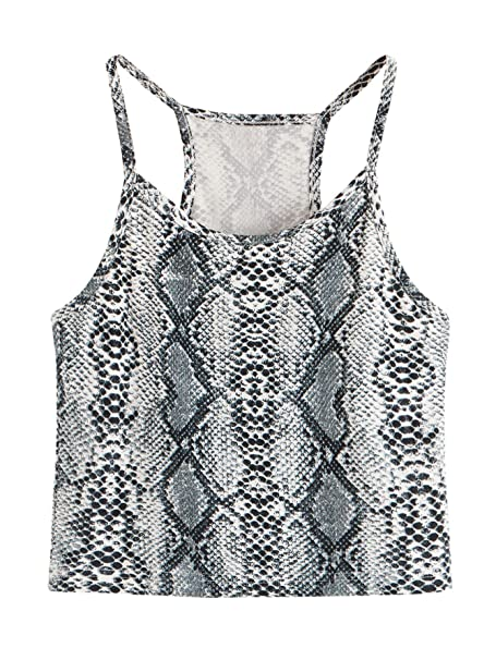 7f569655e17 SHEIN Women s Summer Basic Sexy Strappy Sleeveless Racerback Crop Top  X-Small Leopard