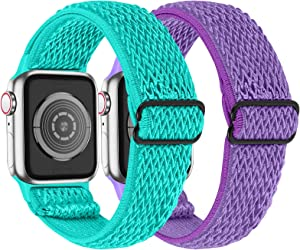 MEFEO 2 Pack Stretchy Solo Loop Strap Compatible with Apple Watch Bands 38mm 40mm 42mm 44mm, Adjustable Elastic Nylon Wristband for iWatch Series 6/SE/5/4/3/2/1 (Mint Green+Lilac,38mm/40mm)