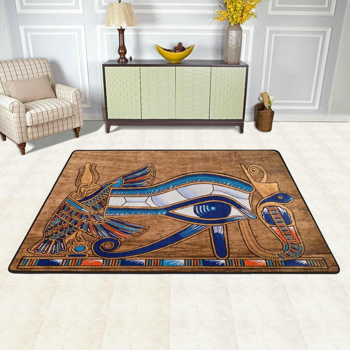Naanle Egypt Area Rug 4 x6 , Egyptian Horus Eye Polyester Area Rug Mat for Living Dining Dorm Room Bedroom Home Decorative