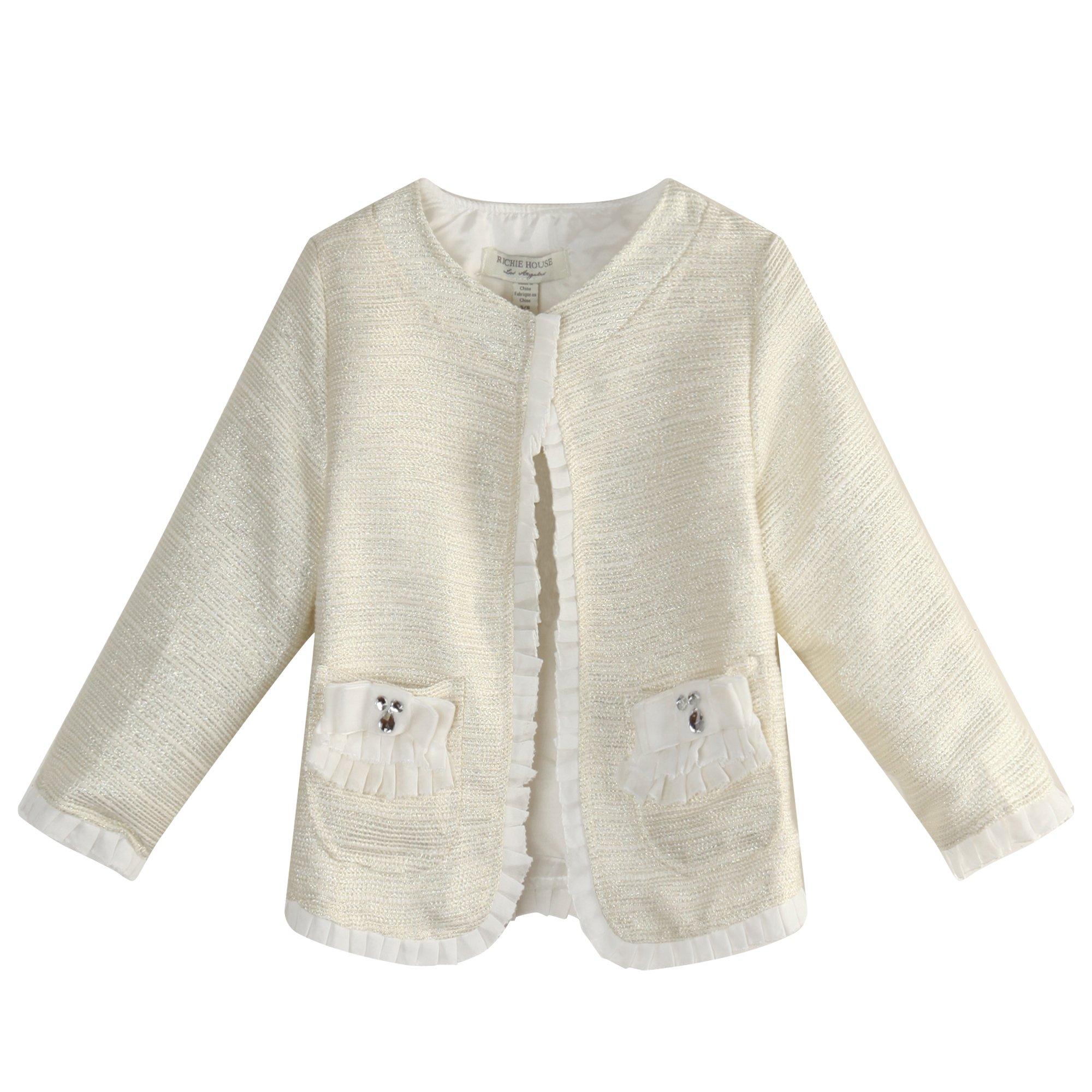 Richie House Little Girls' Coat With Flounced Edges Decoration RH1065-3/4