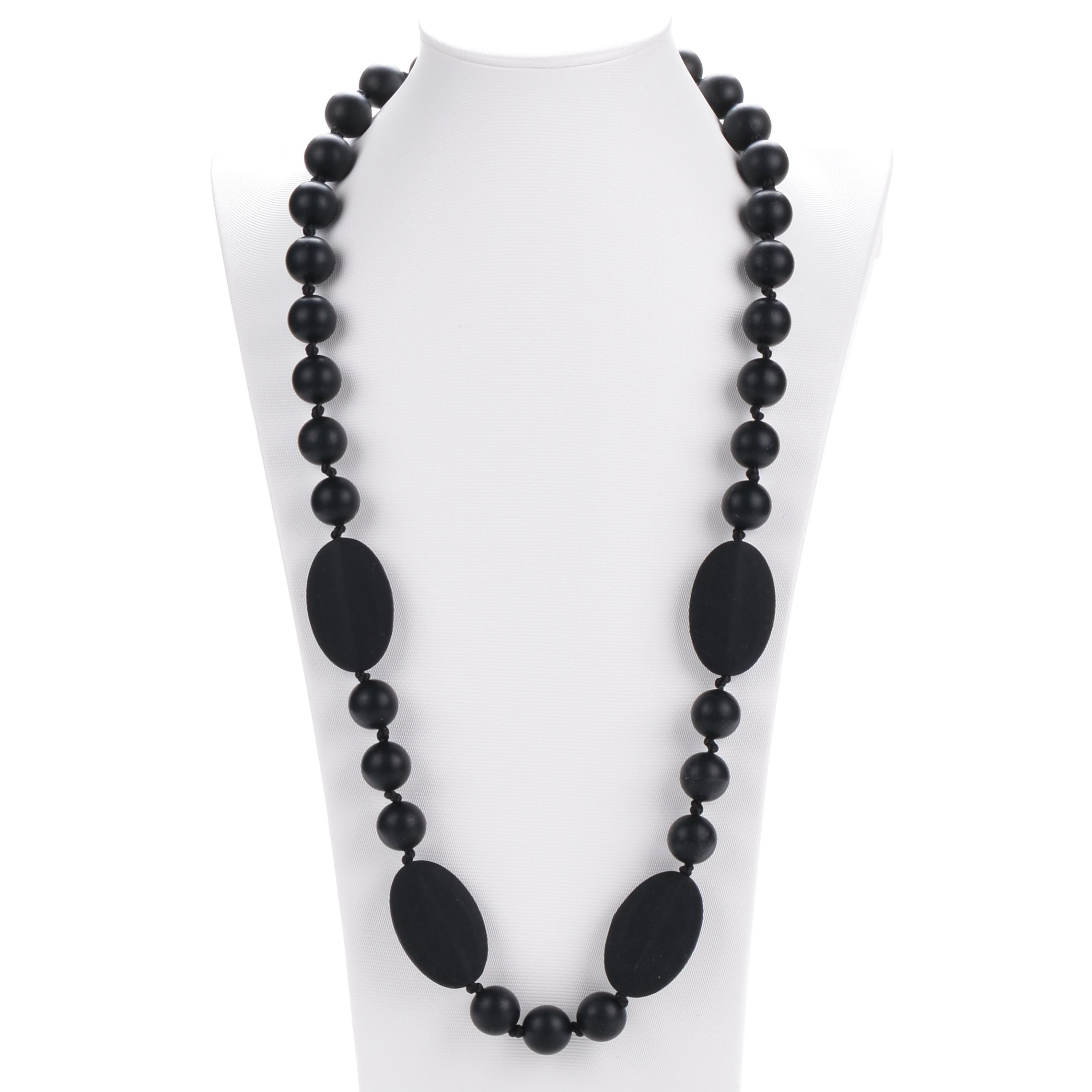 Consider It Maid Silicone Teething Necklace for Mom to Wear - FREE E-BOOK - BPA FREE and FDA Approved - Peas in a Pod (Black)
