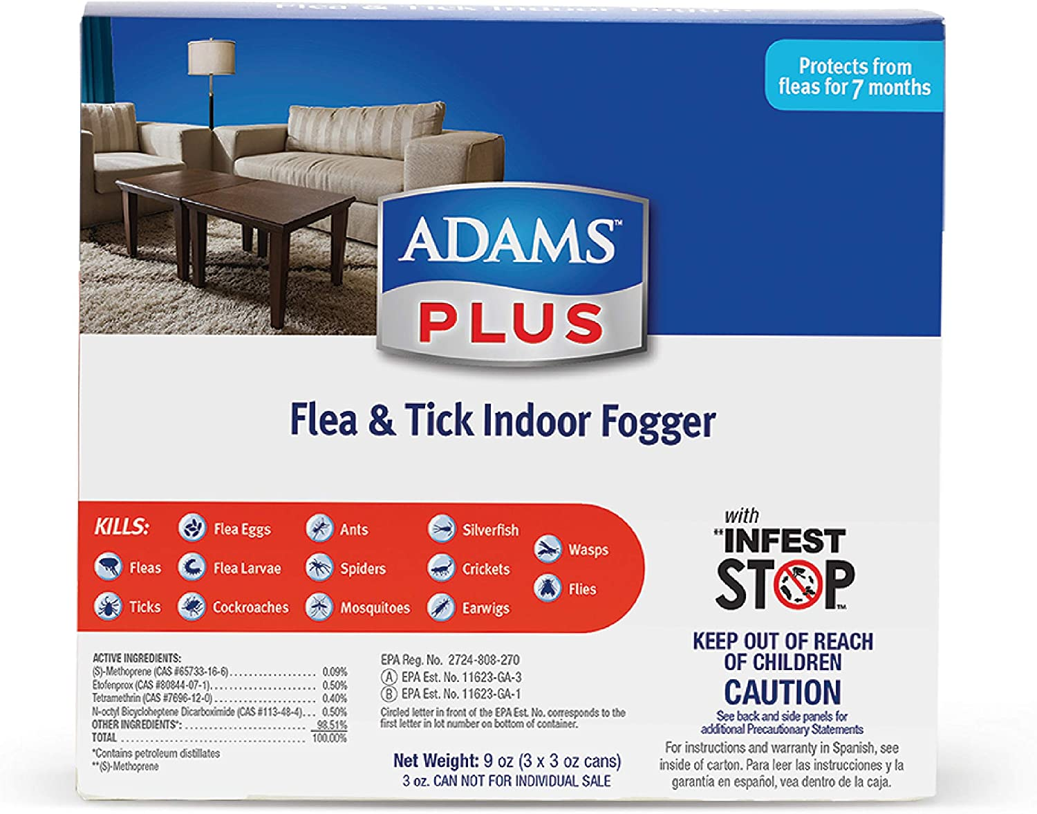 Adams Plus Flea and Tick Indoor Fogger (3 Pack), 3 oz