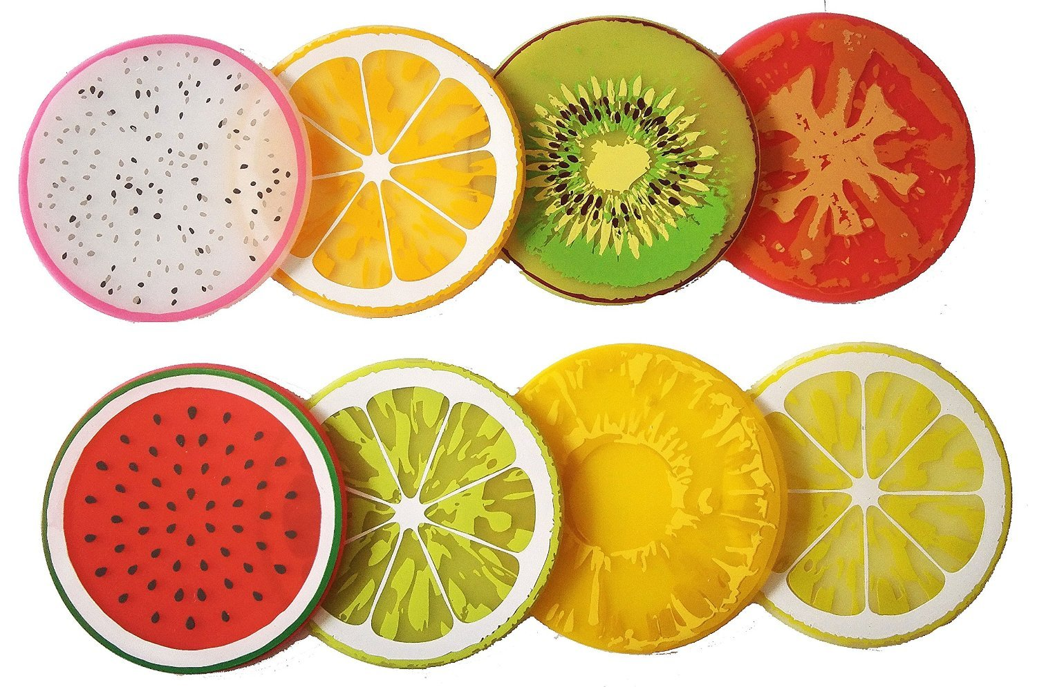 Kanggest 8Pcs Colorful Fruit Silicone Cup Mat Fruit Slices Pattern Coaster Drinks Tea Cup Mat Round Bowl Holder Tableware Placemat (Color Random)