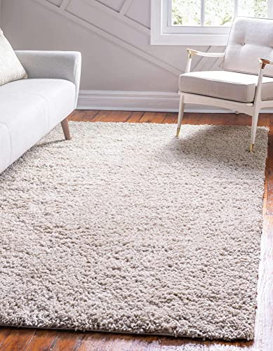 Unique Loom Davos Shag Collection Contemporary Soft Cozy Solid Shag Linen Area Rug 5' 0 x 8' 0