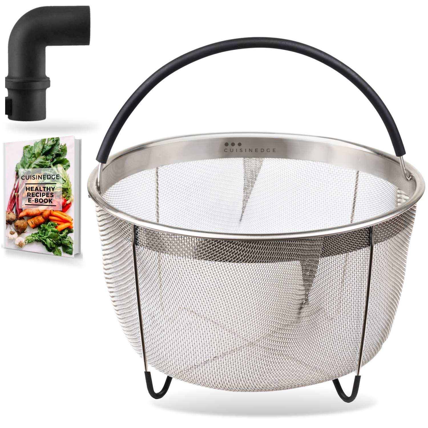 Cuisinedge Steamer Basket for Instant Pot Accessories 6 quart - Stainless Steel Insert Strainer for Instapot 6 qt, 8 qt Pressure Cooker w/Silicone Handle - BONUS Steam Release Diverter, eBook by Cuisinedge