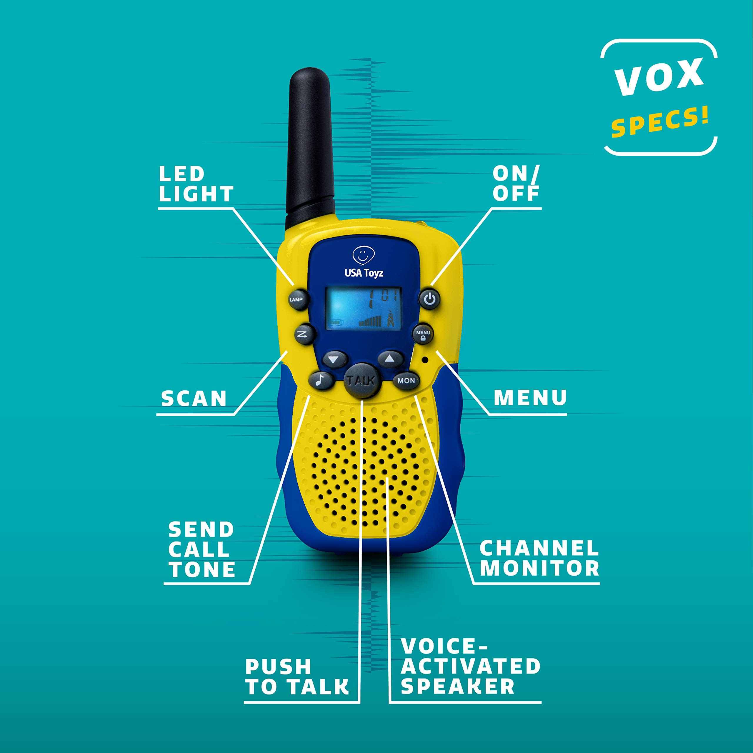 USA Toyz Walkie Talkies with Binoculars for Kids - Vox Box Voice Activated Walkie Talkies for Boys or Girls, Long Range Walkie Talkie Toys Set by USA Toyz (Image #3)