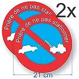 Panneau adhésif - Prière de ne pas stationner - Lot de 2 autocollants de stationnement - Diamètre 21 cm - Résistance à la pluie, UV's, gel... - 2 unités