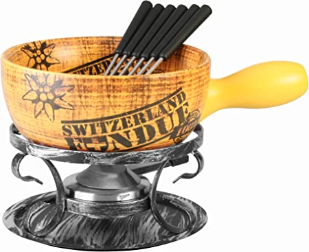 Artestia Ceramic Cheese Cooking Fondue Set – Swiss Vintage