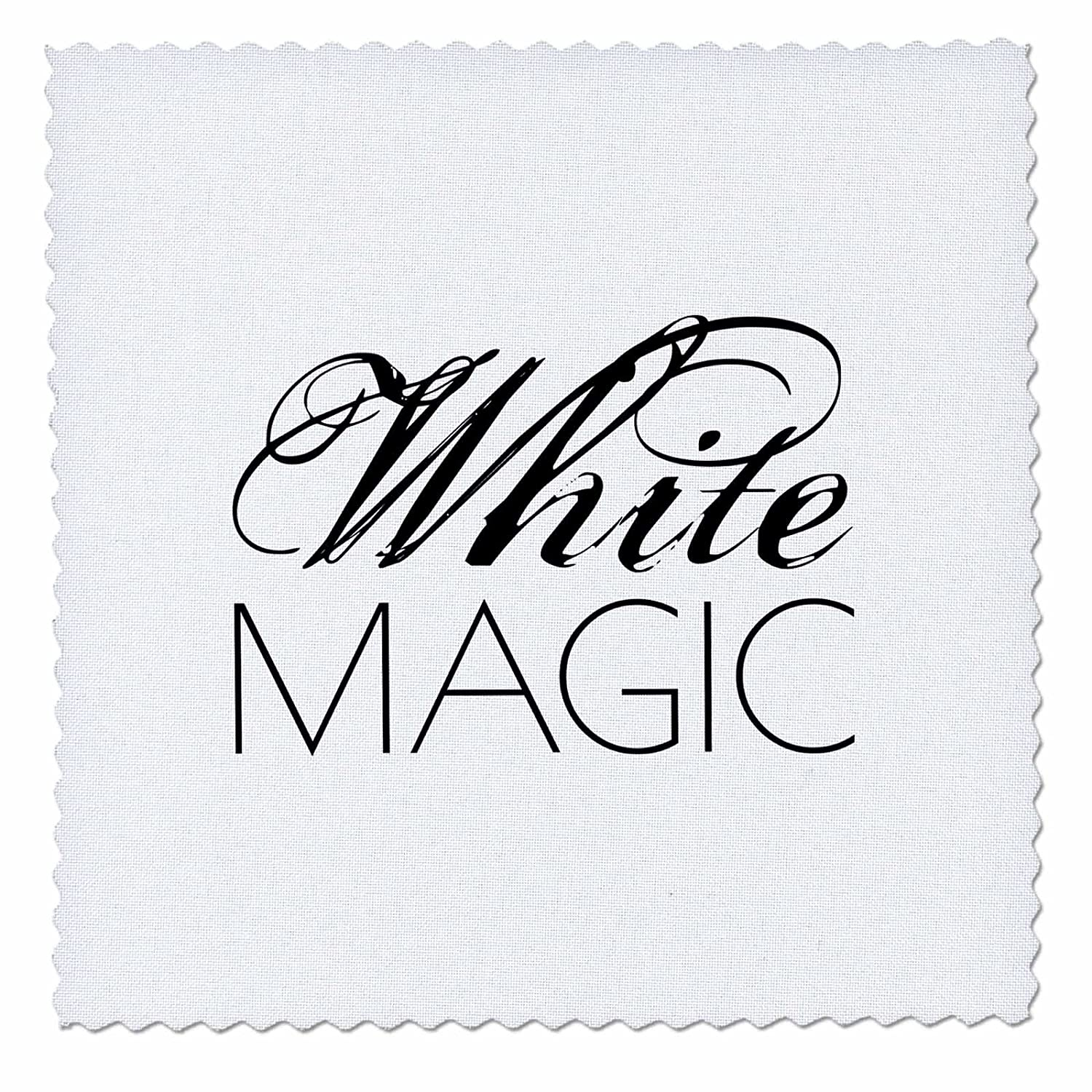 3dRose Alexis Design - Typography - White Magic Decorative Elegant Text on White Background - 14x14 inch Quilt Square (qs_280966_5)