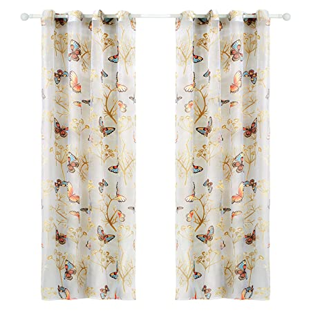 New Top Finel Rose Flower Window Net Voile Curtain Panels 54 Inch Width X 84 Inc Special Buy Window Treatments & Hardware