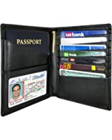 AurDo RFID Blocking Real Leather Passport Holder Cover Case & Travel Wallet for Men & Women