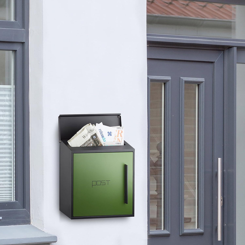schwarz-wei/ß DIN-A4 Einwurf gro/ß Relaxdays Briefkasten wei/ß modern Zweifarben Design HxBxT: 33 x 35 x 12,5 cm Stahl