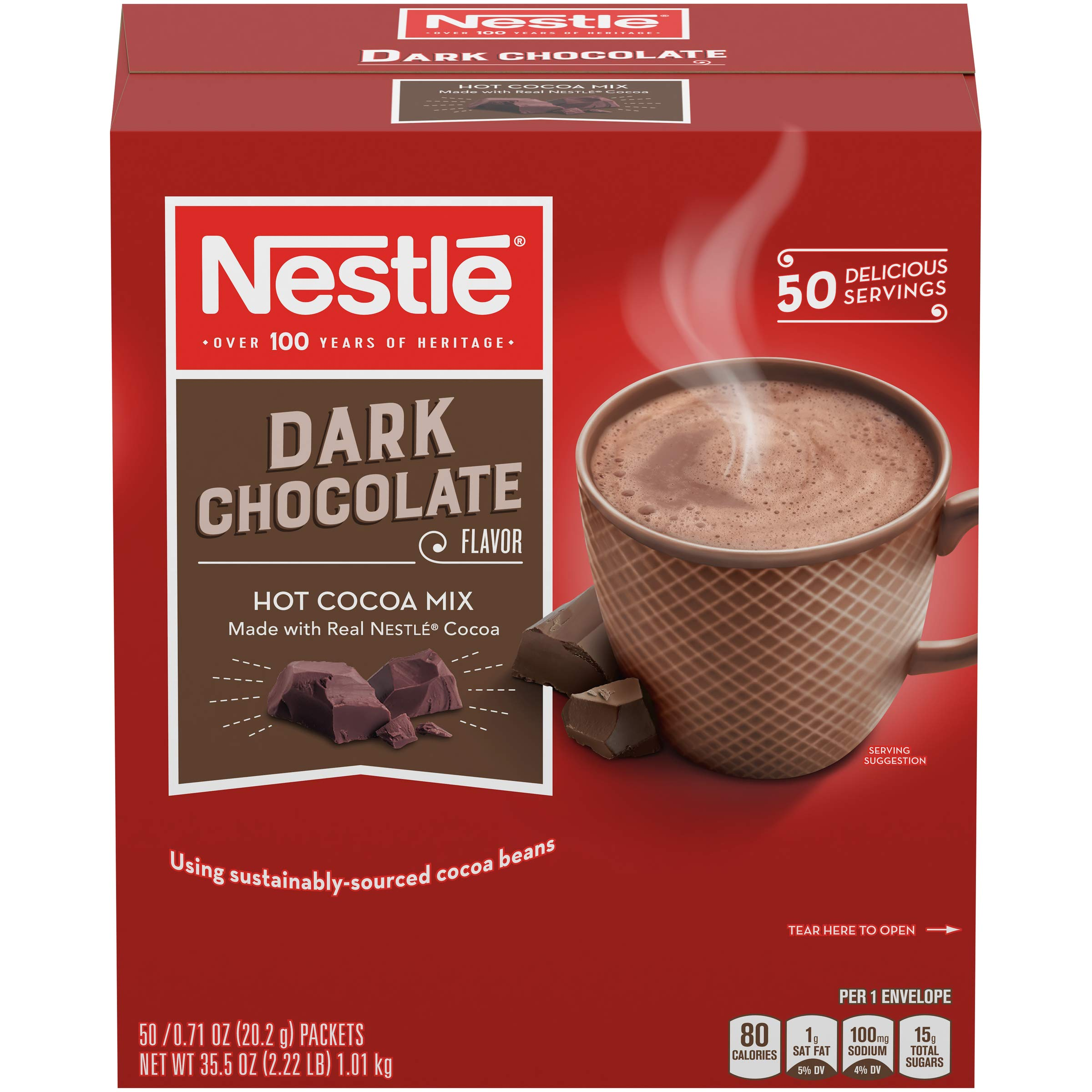 Nestle Hot Chocolate Mix, Hot Cocoa, Dark Chocolate Flavor, Made with Real Cocoa, 0.71 oz Packets (Pack of 300) by Nestle Hot Cocoa