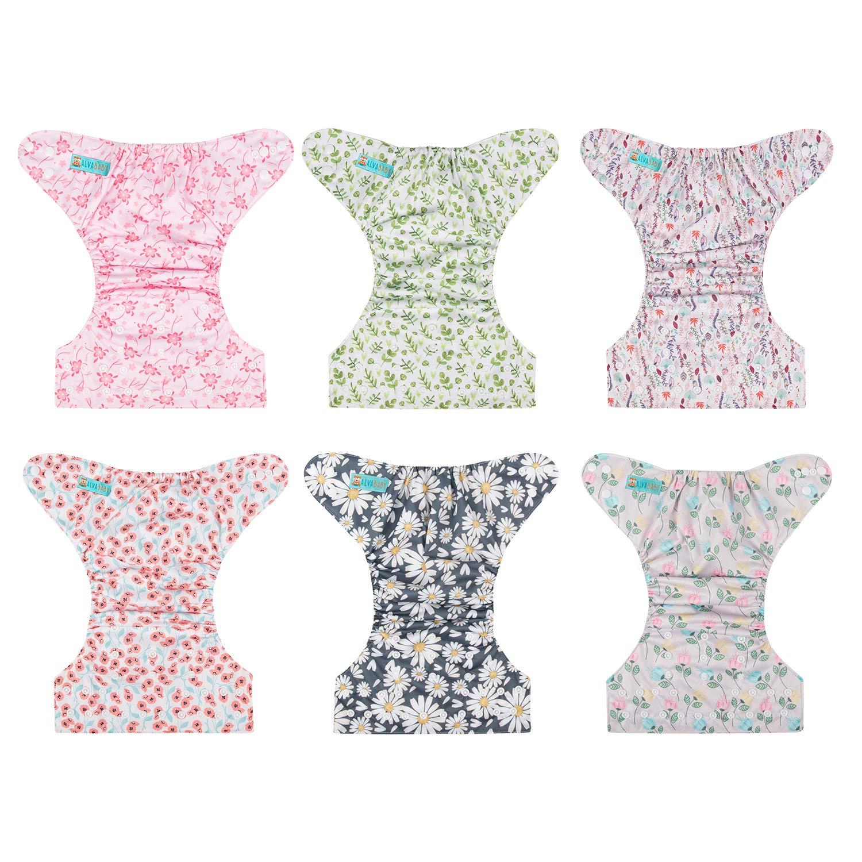 12 Einlagen Alva Baby-Windeln wiederverwendbar waschbar 6 Windeln