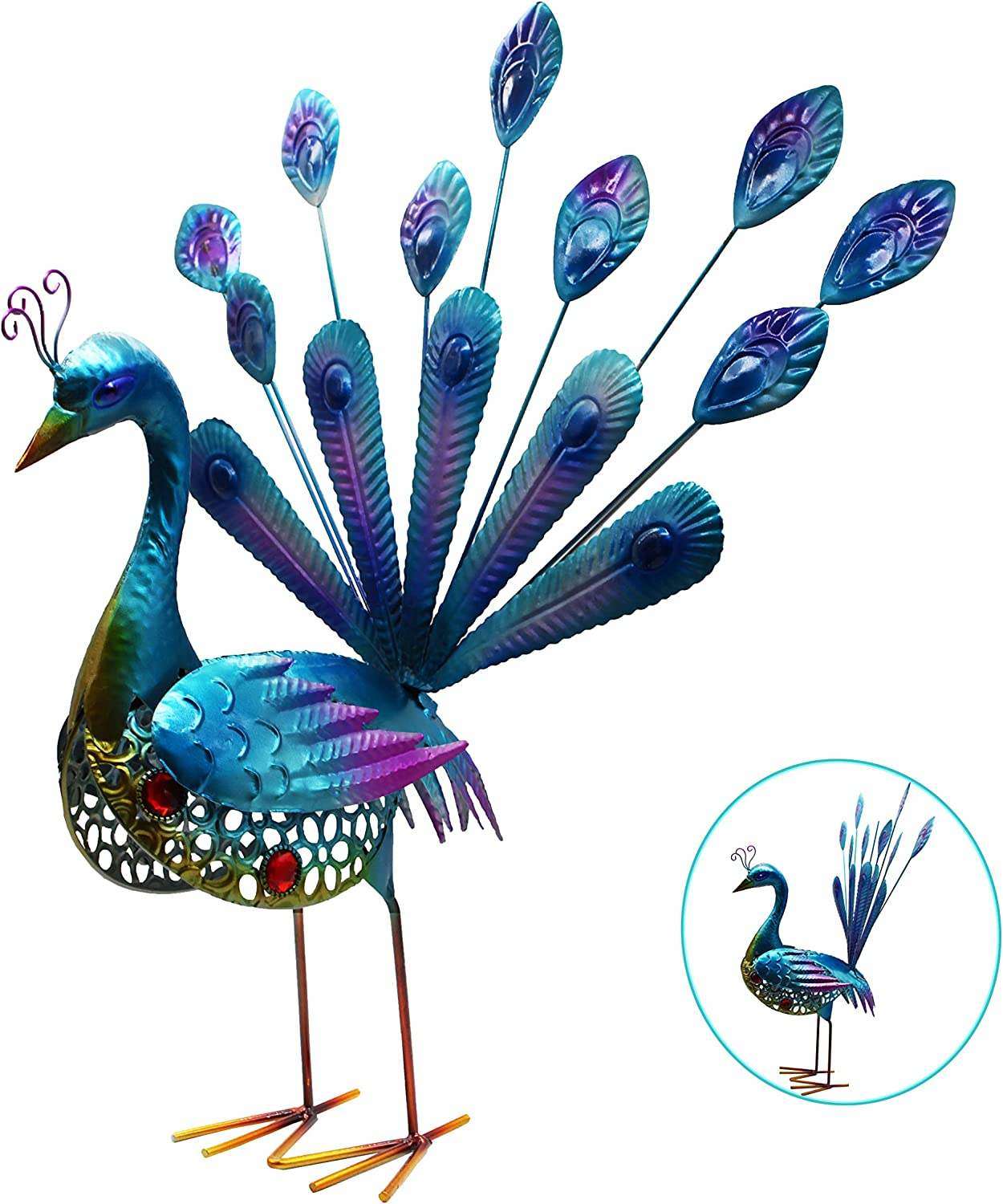 VOTENVO Metal Peacock Garden Statues- Garden Outdoor Indoor Décor Statue, Yard Art Decoration Sculpture,Outdoor Lawn and Patio Decor, Backyard Sculpture, and Decoration. (20 Inch)
