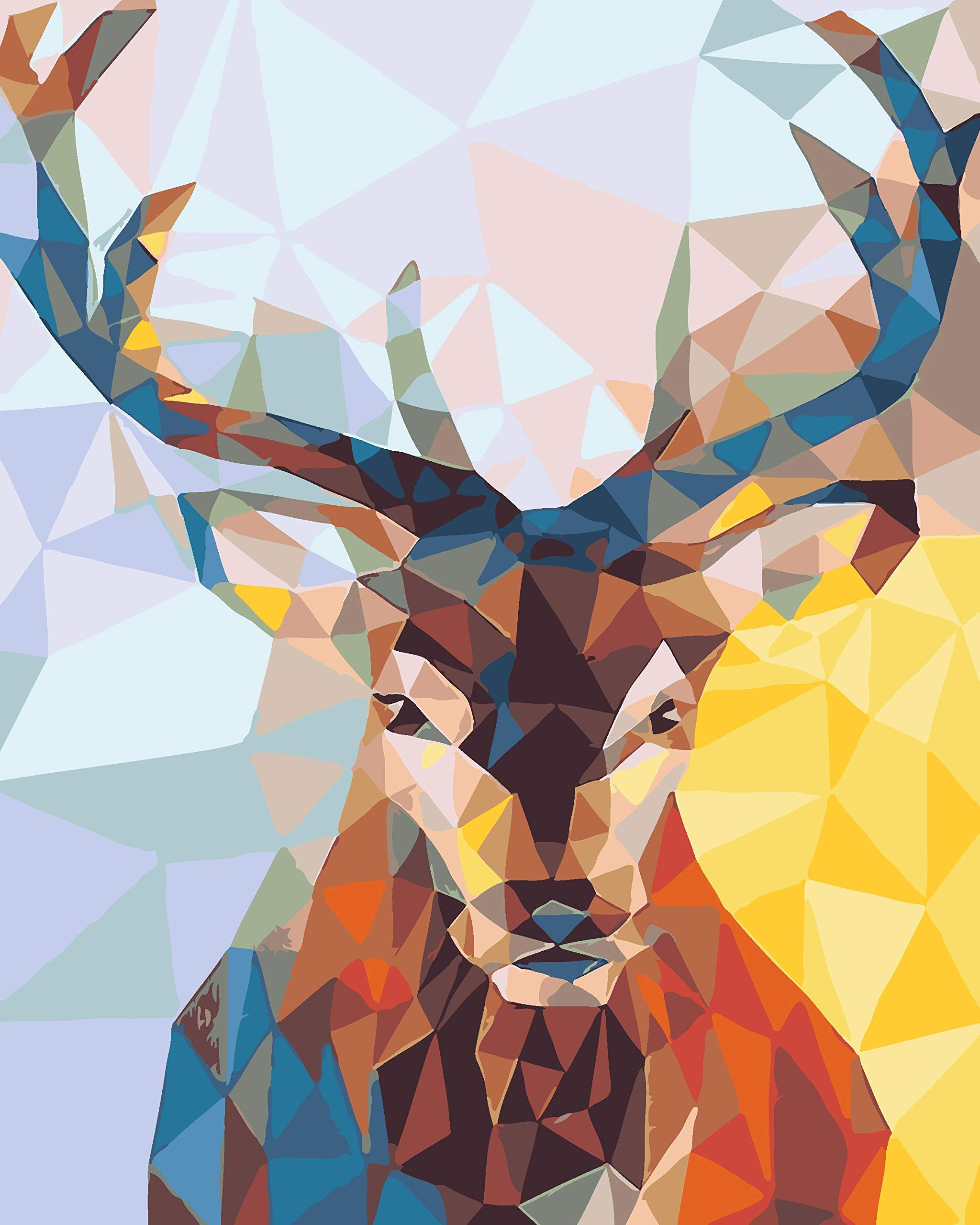 DIY Paint by Numbers Kit for Adults - Christmas Deer Doe | Paint by Numbers Landscape Scene Paintings Arts Craft for Home Wall Decor | Pre-Printed Art-Quality Canvas 20'' x 16'', 3 Brushes, 24 Paints by Alto Crafto