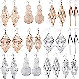 12 Pairs Bohemia Metal Earrings Set Vintage Statement Drop Dangle Earrings for Women Girls