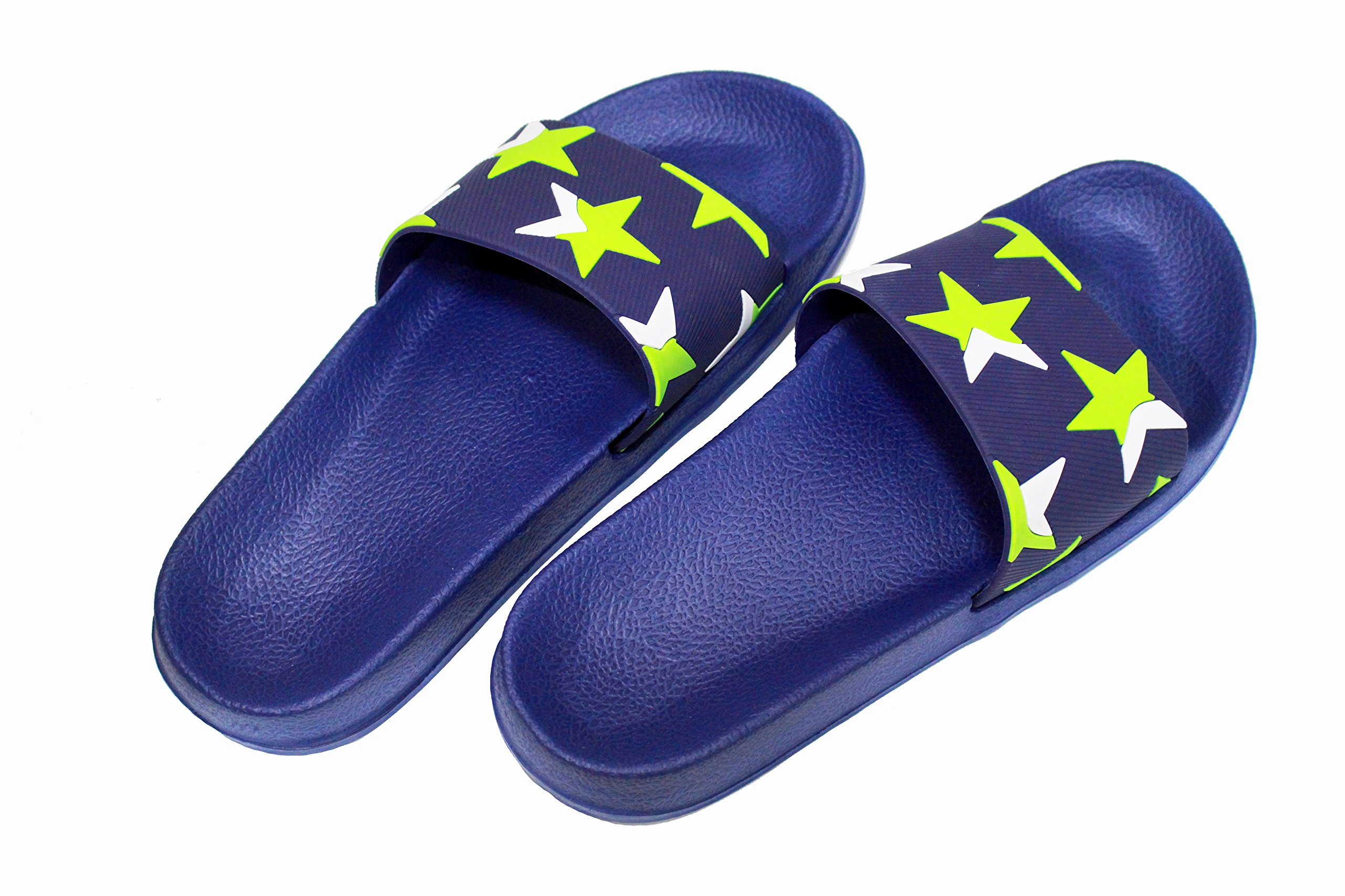 VIVWAY Men's Bathroom Shower Slippers Summer Beach Non-Slip Soft Pool House Sandals Blue US10