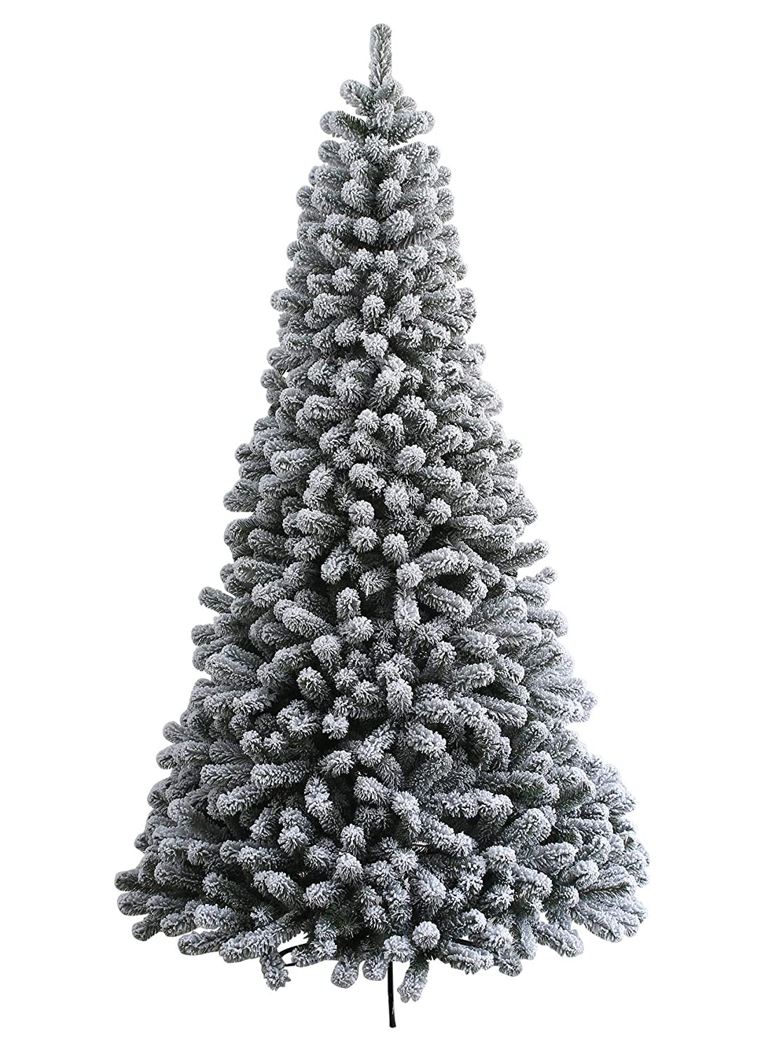 King Of Christmas 7 Foot Prince Flock Artificial Christmas Tree With 400 Warm White Led Lights