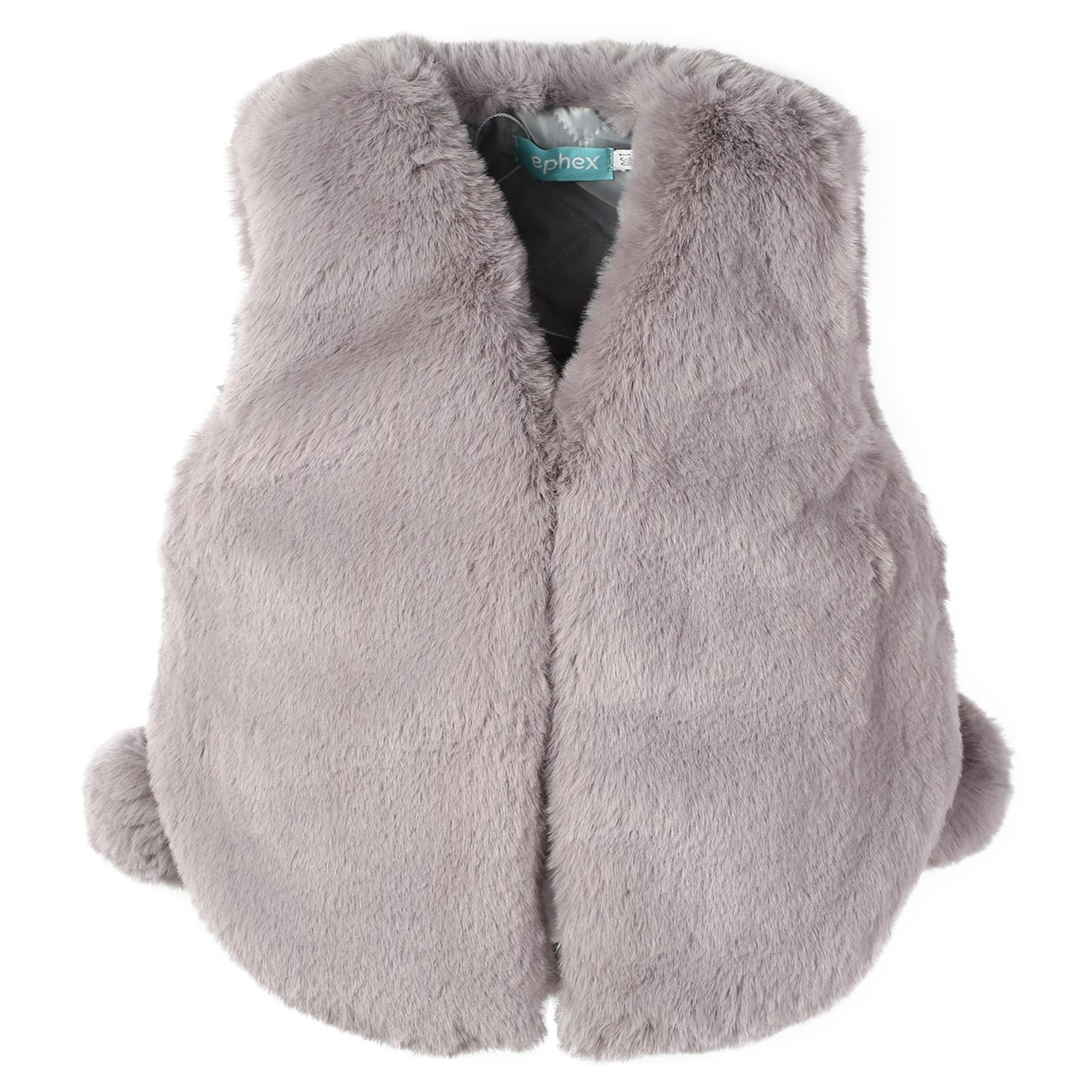 Ephex Toddler Girls Soft Faux Fur Vest Sleeveless Outwear with Cute Ball Age 2 - 11T, Gray, 3 - 4Years/120