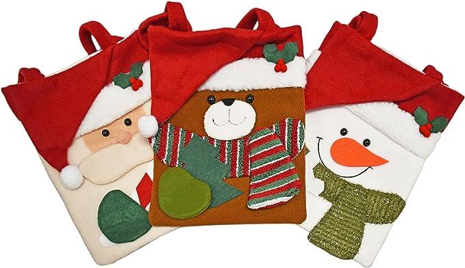 Santa Snowman 4-Pack and Reindeer 12 x 16-inch Elf Iconikal Felt Christmas Character Gift Sack