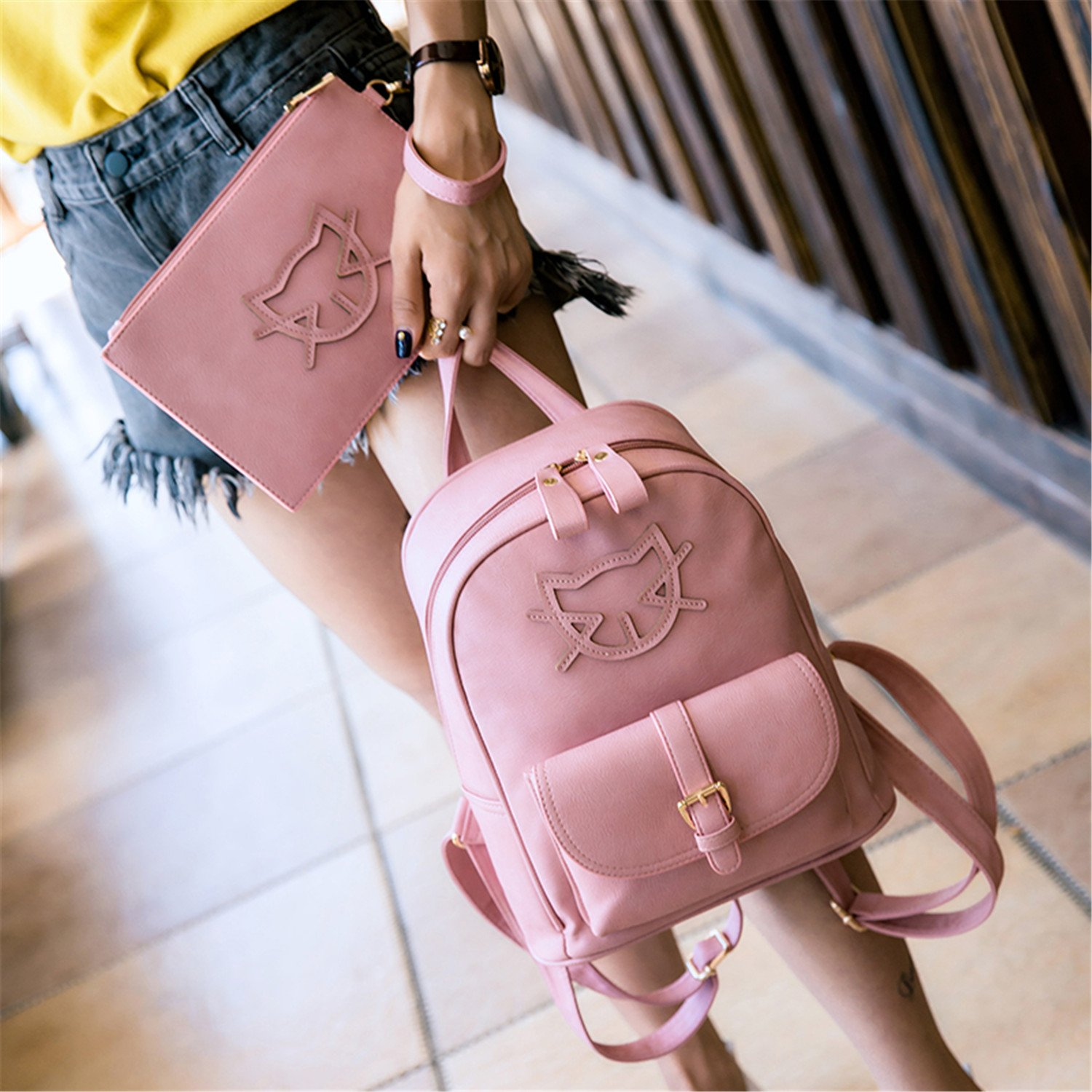 Amazon.com: Toping Fine PU Leather Fashion Bag Cute Backpack Women Designer Bag Cat Cotton School Bags For Teenagers Backpacks Girls Hello Kitty black ...