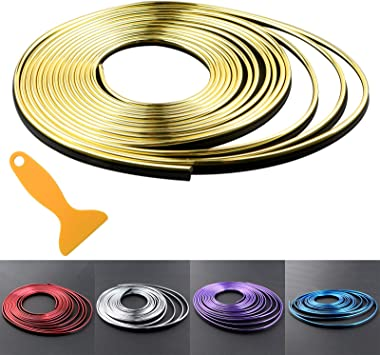 Car Interior Trim Strips 16.4ft Universal Car Gap Fillers Automobile Moulding Line Decorative Accessories DIY Flexible Strip Garnish Accessory with Installing Tool 5M - Gold