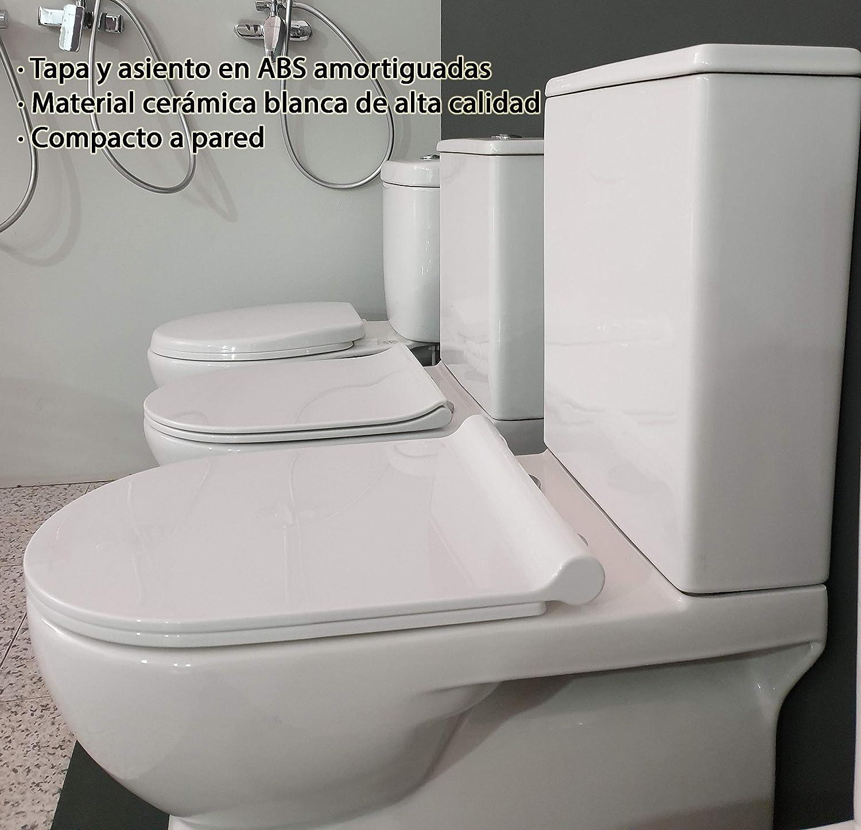 Tapa Y Asiento en ABS Salida Dual Dise/ño Exclusivo y Moderno Ahorro Agua Con Mecanismo Economizador 3//6 Inodoro JHUNO Compacto De Dos Piezas De Cer/ámica Blanca