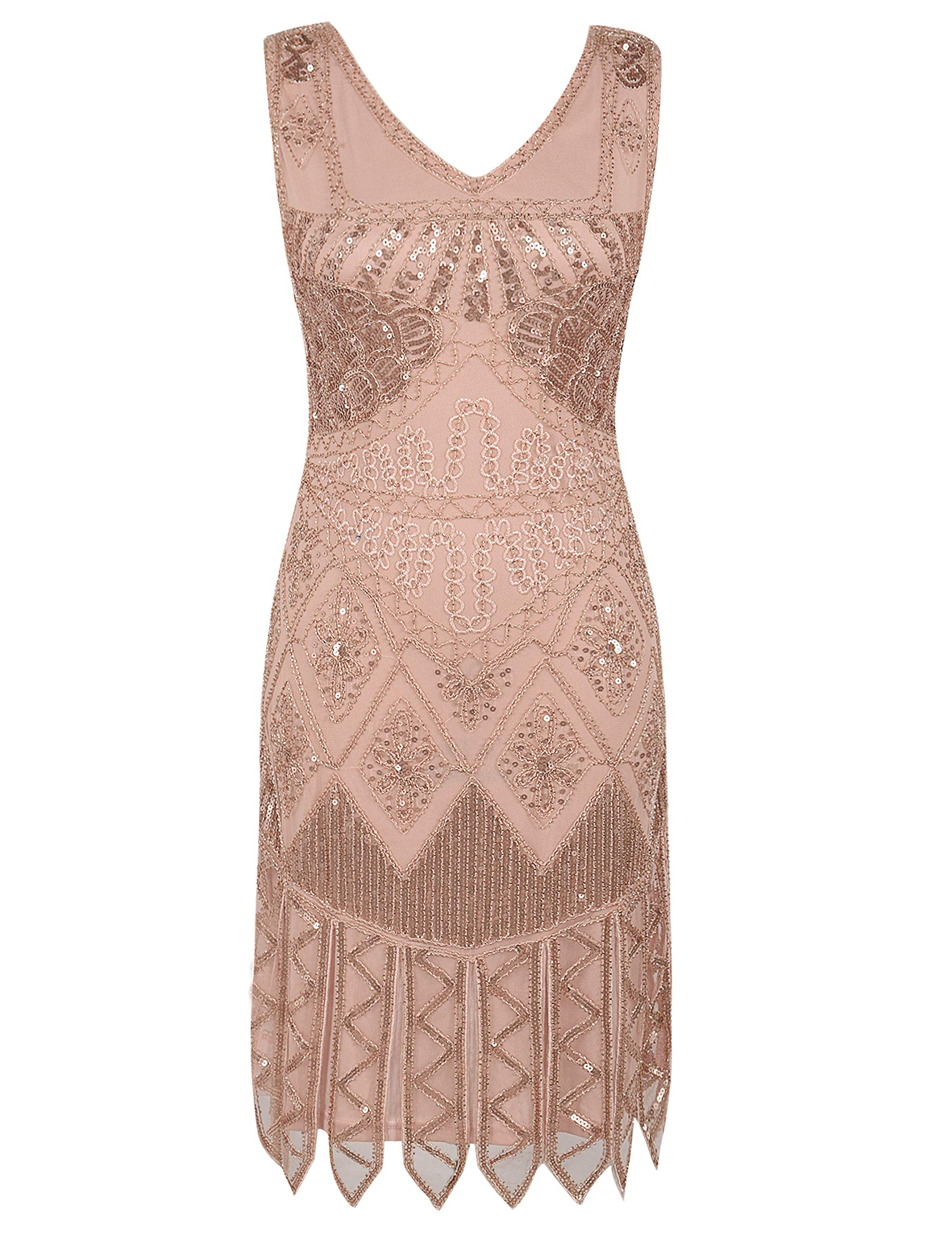 7073679e916 PrettyGuide Womne s Flapper Dress Sundry Sequin Embroidered 1920s Cocktail  Dress S Rose Gold