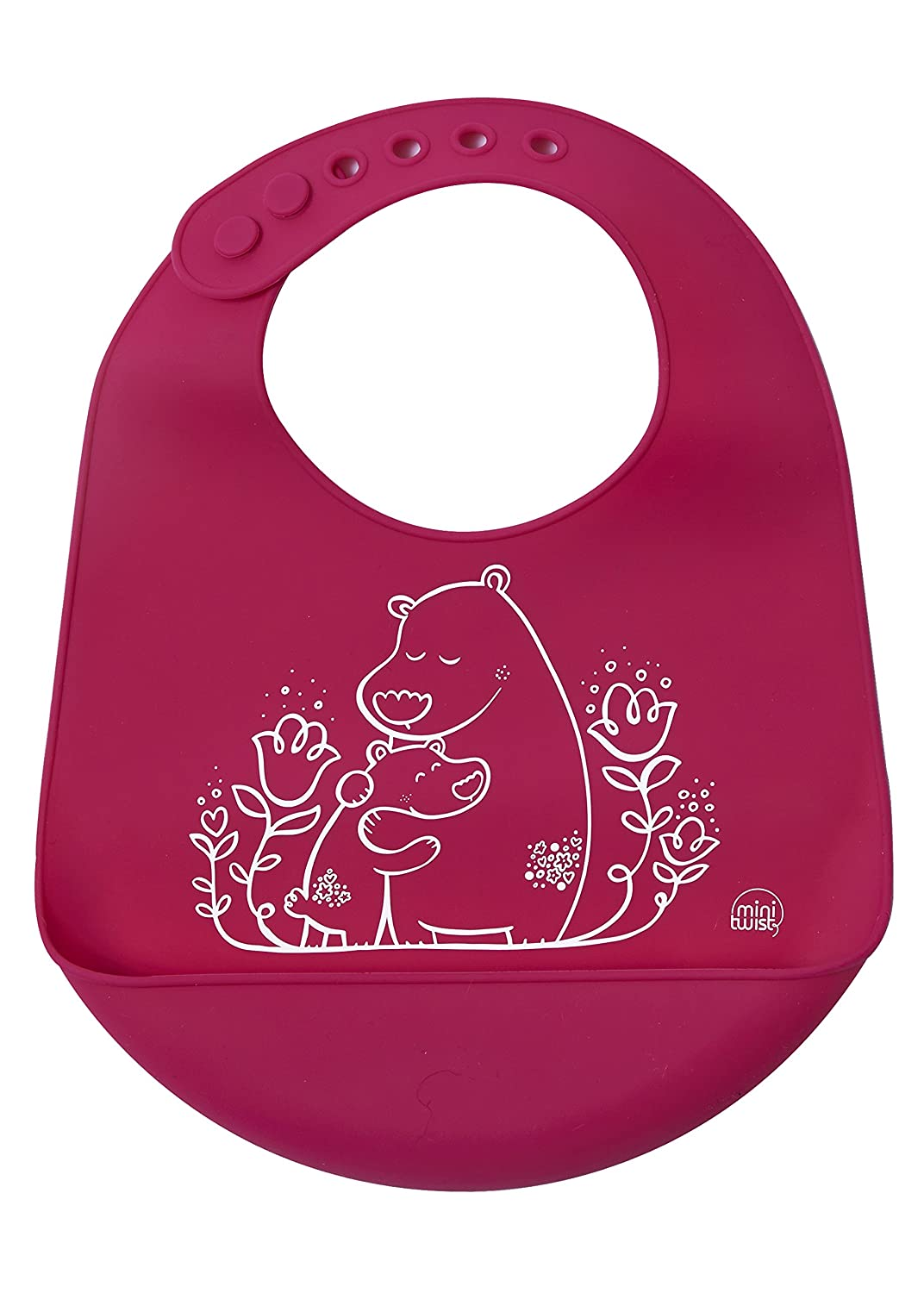 mini-twist Silicone Baby Bucket Bib, Foxes/Green, modern-twist B02