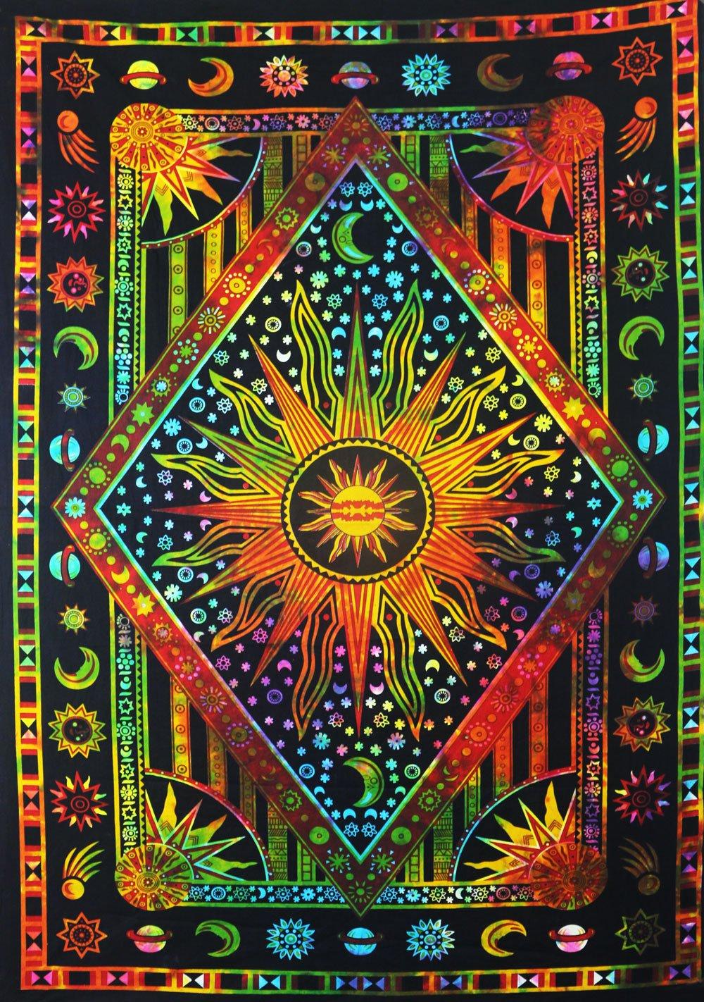 Future Handmade Mandala Sun Moon Tie Dye Doppia Parete arazzo arazzo Hippie Tapestry Wall Hanging Mandala Beach Throw Boho arazzi Bohemien Dimensioni 205, 7x 139, 7cm FH41