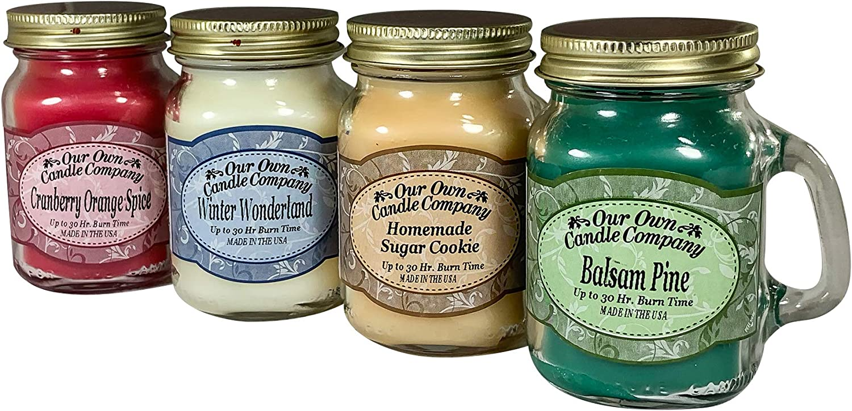 Our Own Candle Company 4 Pack Christmas Assortment Mini Mason Jar Candles - 3 5 Oz Balsam Pine  3 5 Oz Cranberry Orange Spice  3 5 Oz Homemade Sugar Cookie  3 5 Oz Winter Wonderland